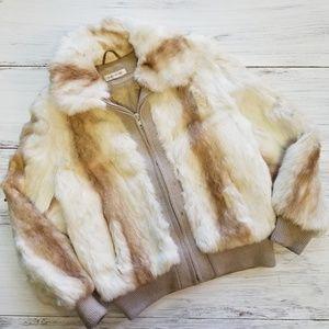 Vintage Dyed Rabbit Fur Jacket Small Petite Coat